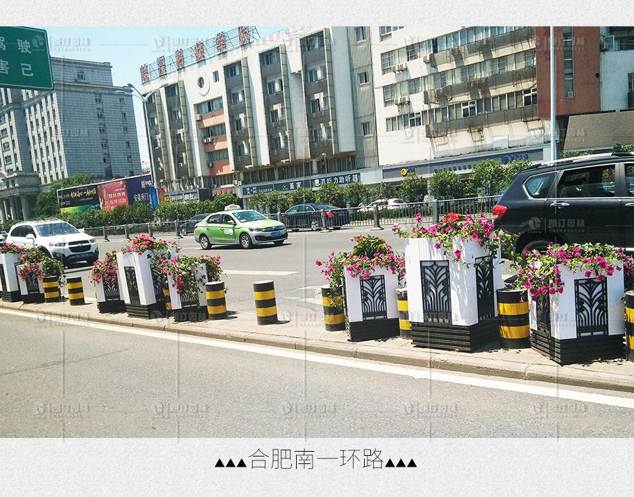 合肥南一環側分帶隔離綠化-方形雕花藝術花箱