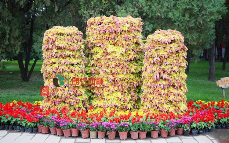 广场立体花柱造景花盆